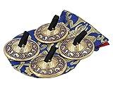 dharmaobjects 2Paar pro Messing Finger Becken–Zimbel Bauchtanz gratis Seidenbeutel blau
