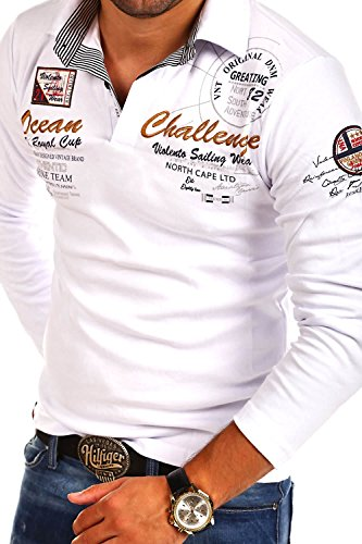 MT Styles Langarm Poloshirt OCEAN Pullover R-0740 Weiß