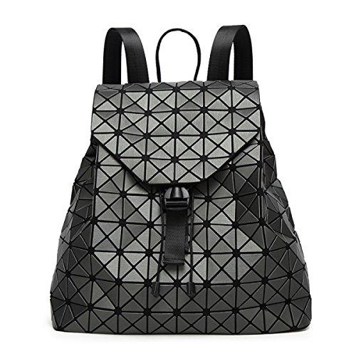 Preisvergleich Produktbild Dame Matte Zeichnung Rucksack Strassform Würfel Klapp Reise Rucksack Mädchen Beutel Vertikalschnitt Quadratisch Bucket Bag,DarkGray-OneSize