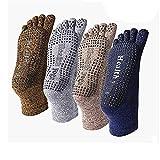 ZGJ AFFE Herren 4 Paare Baumwolle Yoga Socken Anti-Rutsch Zehensocken für solche Sportarten,Wie Joga,Fitness,Pilates,Kampfkunst,Tanz,Gymnastik (4 Paare - Braun | Dunkleblau | Grau | Khaki)