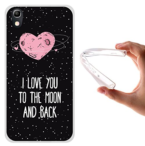 WoowCase Alcatel Idol 4 Hülle, Handyhülle Silikon für [ Alcatel Idol 4 ] Herz Liebe Satz - I Love You to The Moon and Back Handytasche Handy Cover Case Schutzhülle Flexible TPU - Transparent
