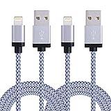 SURWELL Lightning auf USB Kabel [2-Pack]*2m iphone Kabel Ladekabel Nylon für iPhone 7 Plus 6 Plus 6S SE Plus 5S 5C 5, iPad Air 2, Mini 3, iPod 5 und iPod Nano 7 (Silber-Weiß)