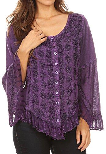 Sakkas 1666 - Aura Womens Casual Rüschen Flare Crop Top Bluse mit Langen Ärmeln w/Stickerei - Purple - M