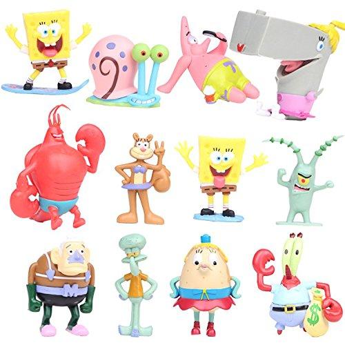 SpongeBob - Bob Esponja y sus amigos - set 12 figuras-con bolsa de plastica- 7-8cm