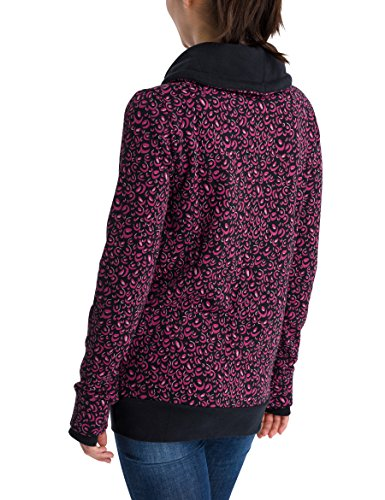 Bench Damen Sweatshirt Her. Corp Open Neck Funnel Printed Mehrfarbig (Animal Black Beauty/Very Berry P1333)