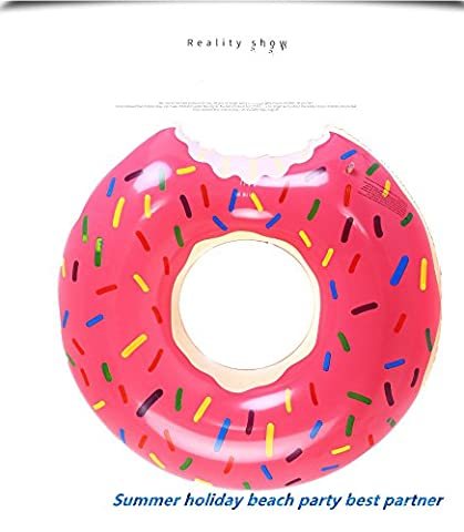 LeEr Large/medium/small Inflatable Pink Donut Swim rings Pool Lounger Float with hole Sprinkles for beach holiday party (multi size for adult&baby, 3pack get 10 percent discount, 4 pack get 15percent discount) (large, pack of 2 (5%