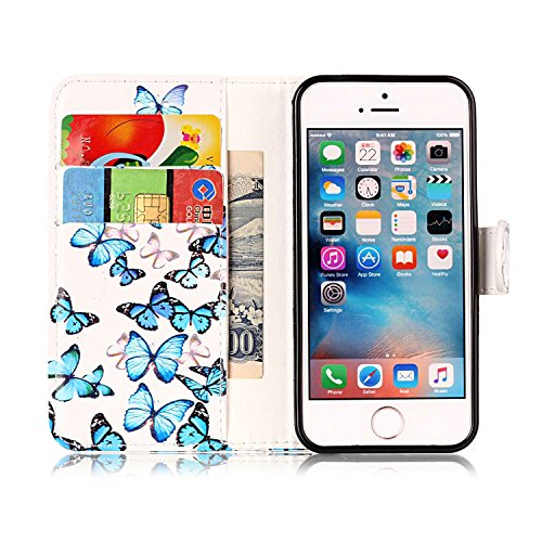 Custodia Cover per iPhone SE Blu Fiore,Flip Cover iPhone 5S a Libro,BtDuck Ultra Sottile Elegante PU Pelle Borsa e Portafoglio Tasca Libro Stand Bumper Case Morbido Silicon Back Case Full Body Flip Co iPhone SE/5S/5 - Farfalla Blu