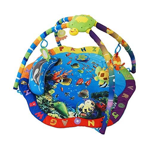 Todeco - Tapis de Jeux pour Bébé, Tapis d'Éveil pour Enfants - Dimensions: 87 x 87 x 48 cm - Jouets pédagogiques: (1x) Tortue en peluche (1x) Poisson en peluche (1x) Fleur miroir (1x) Petit coussin - Motif marin