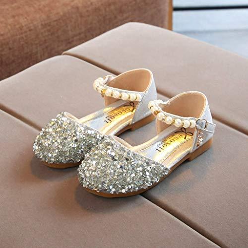 bd5fed02 Modaworld Sandalias de Vestir Niña,Bebés niñas Infantiles Perlas  Lentejuelas Bling Princesa Zapatos Sandalias Niña