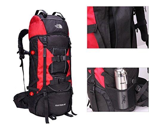 LQABW Zaino Supporto Viaggi Burden Borsa A Tracolla Professionale Alpinismo Sacchetto Impermeabile Panno Di Nylon Oxford Escursionismo Zaino 75L,Orange Blue