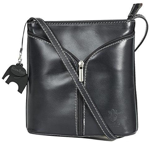 BHBS Kleine Damenumhängetasche aus echtem italienischem Leder 18 x 20 x 6 cm (B x H x T) Dark Grey - Plain