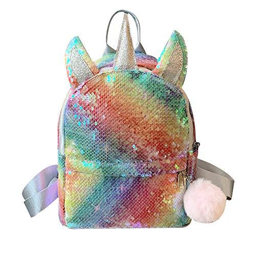 Mochila de Lentejuelas Reversibles para niñas pequeñas,Bolso de Escuela de Lentejuelas de Moda para niños Mochila para guardería de niñas pequeñas Unicornio Encantador