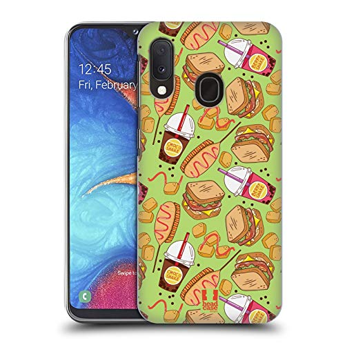 Head Case Designs Sandwich Und Shake Fast Food Muster Harte Rueckseiten Huelle kompatibel mit Samsung Galaxy A20e (2019) Fast-food-sandwiches