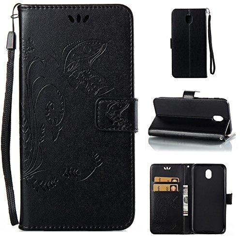 EKINHUI Case Cover Horizontale Folio Flip Stand Muster PU Leder Geldbörse Tasche Tasche mit geprägten Blumen & Lanyard & Card Slots für Samsung Galaxy J7 2017 European Edition ( Color : Black ) Black