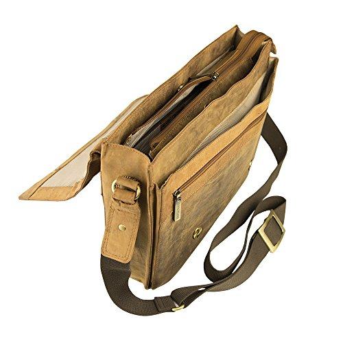 Handgearbeitete hochwertige, handschmeichelnde Marc Picard Leder Tasche Umhängetasche Schultertasche Messenger Bag 28x30x9 (BxHxT) Tan