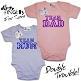 Dirty Fingers – For Twins - TEAM MUM & TEAM DAD – 2 x Baby & Toddler Short Sleeve Bodysuits / Baby Grows, 3-6 months, Blue & Pink