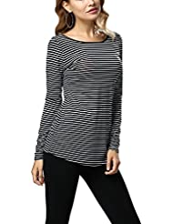 Mena UK Moda de las señoras de manga larga Stripe Polyester 100% Slim Backless T Shirt ( Color : Negro+blanco , Tamaño : S )