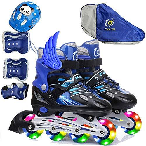 HOQTUM Rollschuhe Jungen und Mädchen Rollschuhe Rollschuhe Kinder Vollblitz LED-Leuchten Schuhe Outdoor-Training mit Schutzausrüstung S-M