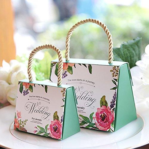 Zhi jin, set da 30 scatole per confetti, motivo floreale, per bomboniere da matrimonio, con manico, in carta, decorative green