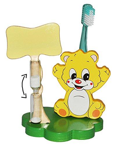 Zahnbürstenhalter aus Holz mit Sanduhr Bürstenhalter Halter Zahnbürste NEU