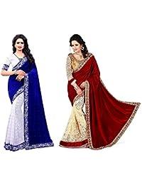 Pramukh Fashion Women'svelvet With Blouse Saree (Blue And Maroon Velvet)