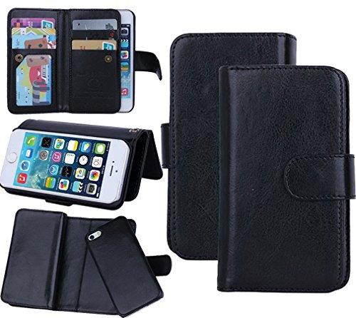 Juzi iPhone SE Fall, Geldbörse iPhone 5s 5Fall Leder Flip Handy Halter Fall-Abnehmbare Magnetisches Cover mit Lanyard Handschlaufe für iphonese iPhone 5s (Schwarz) - Für Otterbox-handy-fall 5s