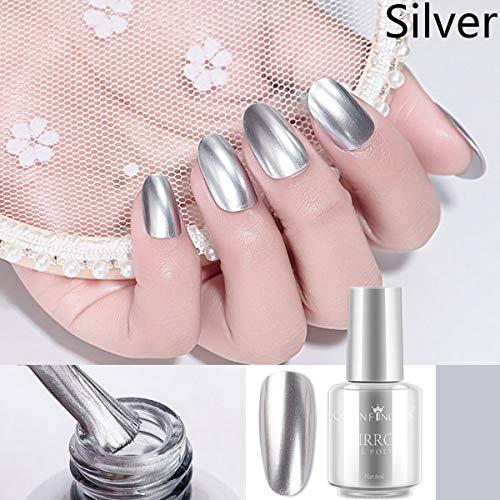 Vernis à ongles argentés de vernis à ongles argentés de miroir de mousse d'acier inoxydable de pâte pour l'art de clou