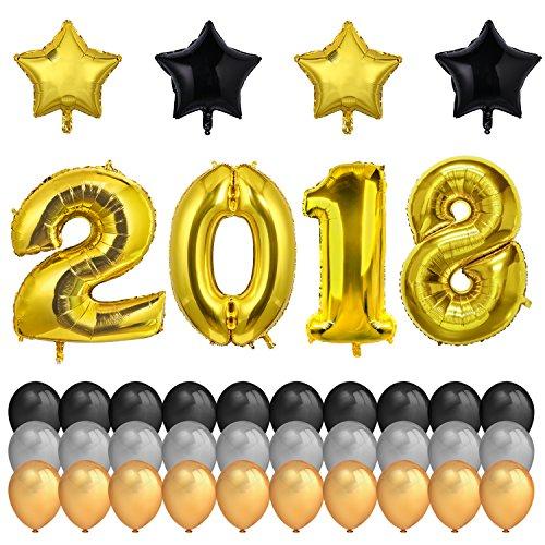 Graduierung Dekorationen, Konsait 40Inch Gold Zahlen 2018 Folien Ballon XXL Riesenballon und 7cm Mylar Stern Luftballons und Schwarz Gold Silber Latex Ballons für Grad Partei Dekorationen