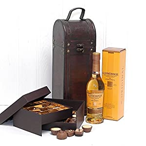 Whisky & Belgian Chocolates Antique Chest - 350ml Glenmorangie Whisky in a Wooden Replica Antique Chest & 32 Belgian Chocolates in a Brown Two Tiered Gift Box by Fine Food Store Gift ideas for - Fathers Day,Valentines,Presents,Birthday,Men,Him,Dad,Her,Mum