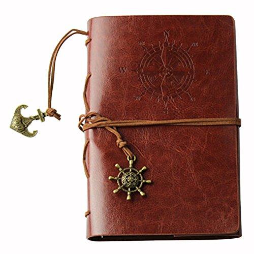Notizbücher Student,iSpchen Retro Kreative Notizbücher Notepad Pirate Straps Männer Frauen Nautical Leder Tagebuch Memo Notizbücher Braun