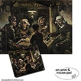 Geschenkset: 1 Poster Kunstdruck (80x60 cm) + 1 Mauspad (23x19 cm) - Vincent Van Gogh, Die Kartoffelesser, 1885