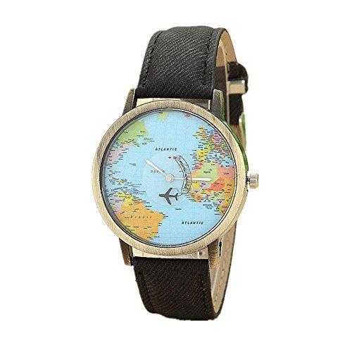 Uhr Damen Uhren DAY.LIN Fashion Global Reisen mit dem Flugzeug Karte Frauen Kleid Uhr Denim Fabric Band (Schwarz)