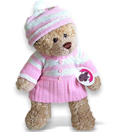 Baue Dein Bears Kleiderschrank 15Zoll Bj Bär Fairisle Knit Kleid und Hut Teddybär Kleidung (Rosa)