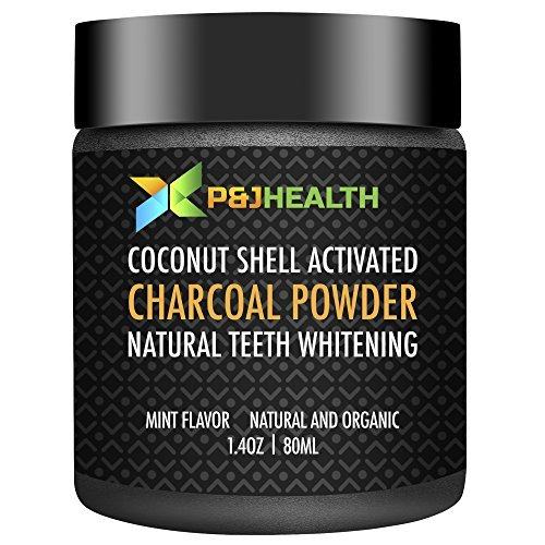 P & J Health Coconut Activated Charcoal Powder-Natural Teeth Whitening powder mint flavor