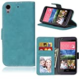 LMAZWUFULM Hülle für HTC Desire 650 / 626G / 628 (5,0 Zoll) PU Leder Magnet Brieftasche Lederhülle Retro Gefrostet Design Stent-Funktion Ledertasche Flip Cover für HTC 650 / 626G / 628 Blau