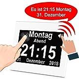 iGuerburn Digitale Sprechende Uhr Touchscreen Tageskalender Wecker für Senioren Ältere Demenz Alzheimer Gedächtnisverlust Sehbehinderte Blindheit (Weiß, 20cm) MEHRWEG