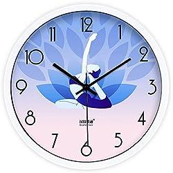 DIDADI Wall Clock El moderno gimnasio practicar yoga thin mute salón del Reloj de pared Reloj de cuarzo de 12 pulg.