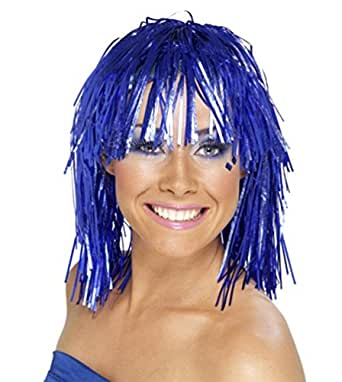 NEW LADIES WOMENS CRIMPED BLUE TINSEL WIG 70S 80S FANCY DRESS ACCESSORY (BLUE)