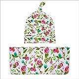 Cumaky Neugeborenes Baby Swaddle Decke mit Stirnbänder oder Hüte Kleinkind warme Dusche Geschenk Kinderwagen Wickeln für (35,4