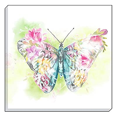 "Evans Lichfield Country Floral Butterfly Blue Pink Canvas Wall Art Picture 40cm - 16"" produced by Canvas - quick delivery from UK."