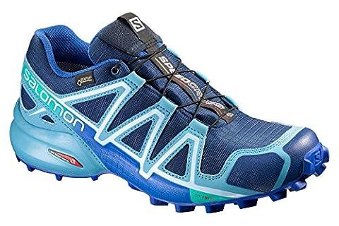 Salomon Femme Speedcross 4GTX, Noir/Noir/métallique Bubble Blue, Synthétique / Textile, chaussures de course à pied et trail, Taille 36, Femme, 383082, Multi Color