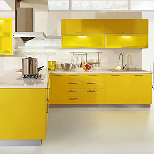 Folie Küchenschrank: KINLO® Selbstklebende Folie Küche Gelb 61x500cm Tapeten