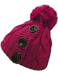 Ladies Chunky Knit Pom Pom Hat with Button Detail