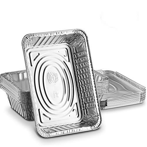 Propack Einweg Aluminium länglich Folie Pfannen, Behälter, mit Folie Deckel, 2¼ lb. Frischhaltedosen 8Stück silber Aluminium-oblong Pan