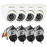 "KKmoon Kit 800TVL 4X CCTV Cámara en Domo 1/4"" Color CMOS 24 LED IR-Cut Visión Nocturna + 4pcs 60ft Video Cable PAL Sistema Vigilancia Hogar Tienda"