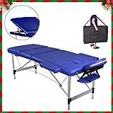 Pawstory Camilla de Masaje de 3 Zonas Aluminio Profesional Portatil Ligera Mesa de Masaje de Plegable Altura Ajustable Tattoo Salón Terapia con Apoyabrazos, Reposacabezas, Bolsa de transporte (Azul)