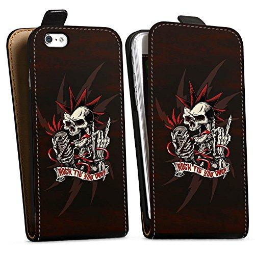Apple iPhone 6s Silikon Hülle Case Schutzhülle Totenkopf Rock Musik Downflip Tasche schwarz