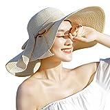 Drawihi Donne Cappello tesa larga Elegante Cappello paglia da Cappello della  spiaggia Pieghevole Floscio Protezione solare 523217f015e4