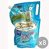 Set di 8 SPUMA Di SCIAMPAGNA Ammorbidente Sacco 60 MIS.FRESCO PURO Detergenti Casa