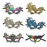 Daimay 6 piezas Mascarada De Encaje Máscara de ojos de encaje bronceadora sexy Las mujeres componen una misteriosa máscara para los ojos para la fiesta de baile por la noche Carnaval veneciano de halloween Bola de disfraces